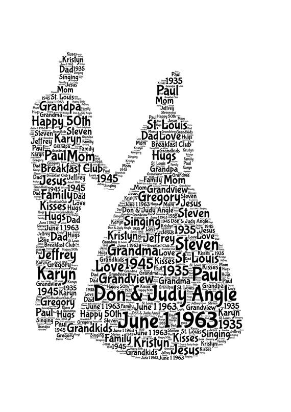 PERSONALISED WORD ART OF A COUPLE FOR AN ANNIVERSARY OR CHRISTMAS GIFT PRESENT