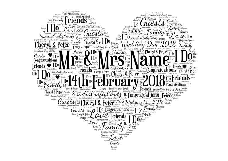 Wedding Day Print Personalised Word Art Gift for couple image 0