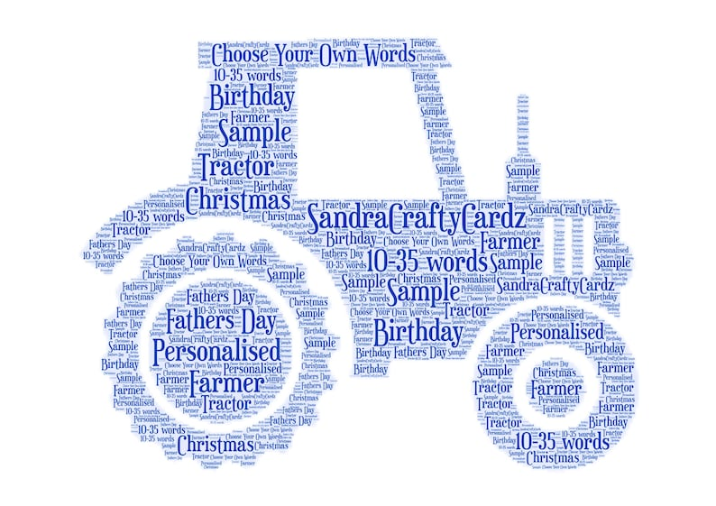 Tractor Personalised Word Art Print Fathers Day Birthday A5 PRINT ONLY