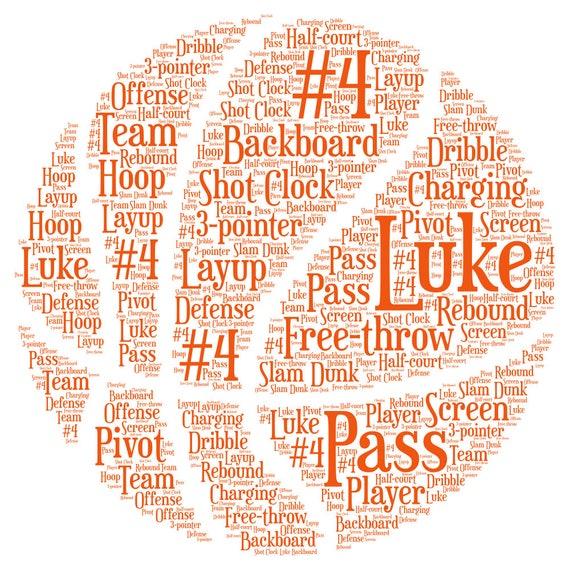 Basketball Word Art cadeau pour lui sur Noël Cadeau De Noël Personnalisé Custom d