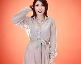 Vintage 1970s Secretary Silver Sheer Full-Length Maxi, Disco 1970s Dress, Vintage 1970s Metallic Dress, Silver Metallic Dress, 70s Secretary