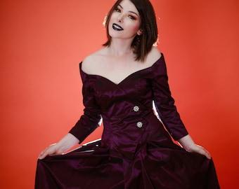 Vintage 1980s 80s Purple Taffeta Off Shoulder Evening Gown, 1980s Off Shoulder Ball Gown, Long Sleeve Formal, Purple Taffeta, Goth Vintage