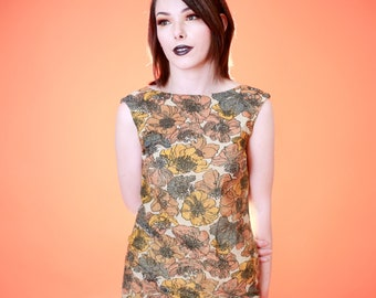 Vintage 1960s Autumn Warm Floral Shift Dress Sleeveless, Mod Floral Dress, 60s Shift Dress, 1960s floral, metallic shift dress, fall 60s