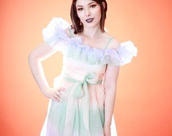 Vinage 1980s 80s Ruffle Cupcake Prom Homecoming Dress Pastel Ombre Dress, Pastel Ombre 80s Dress, Pastel 80s Prom, Cupcake Prom Dress, 1970s