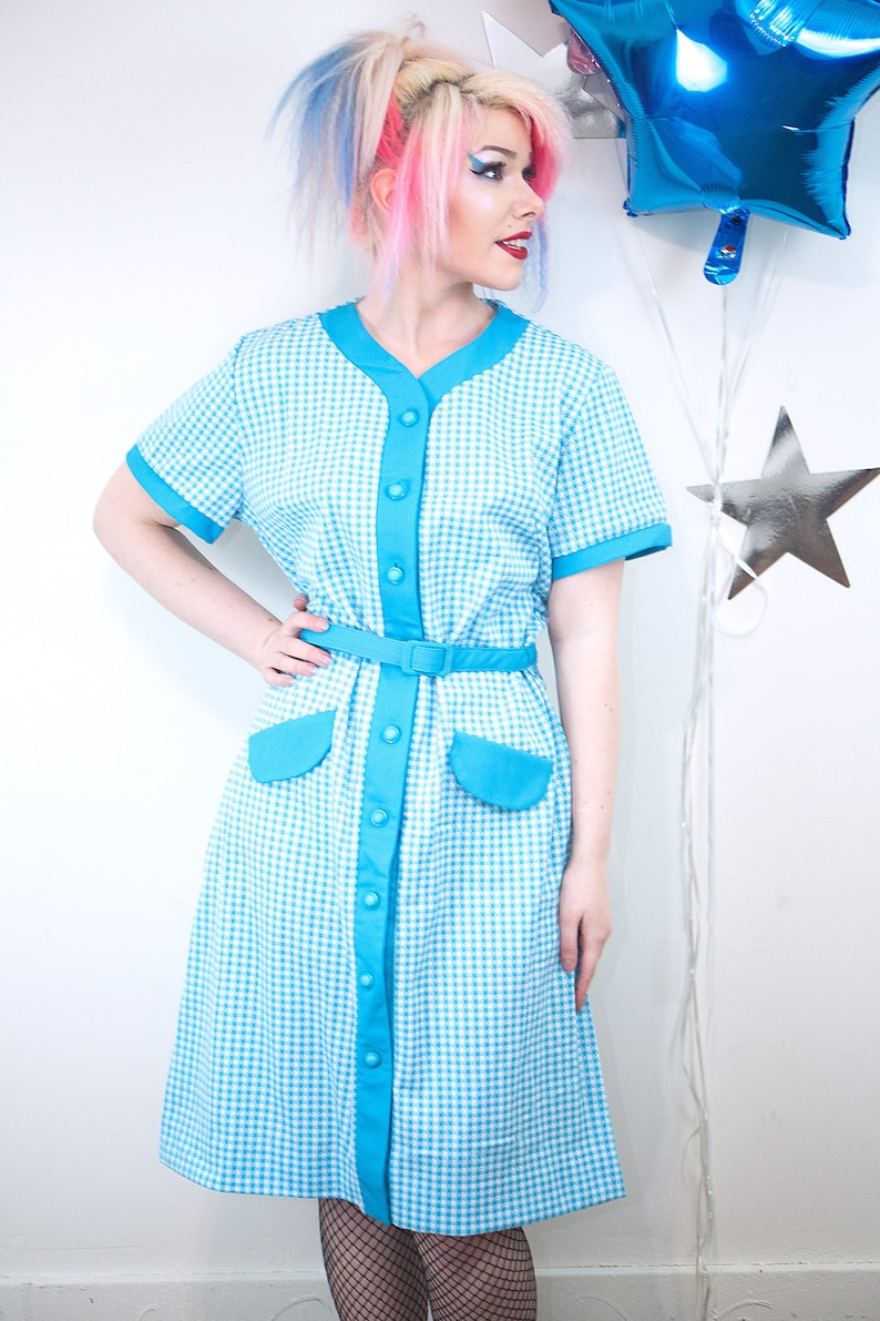 Sporty 1960s 70s Vintage Polyester Knit Aqua Houndstooth Dress image 0