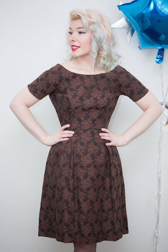 Vintage 1950s 1960s Brown Floral Brocade Party Dre