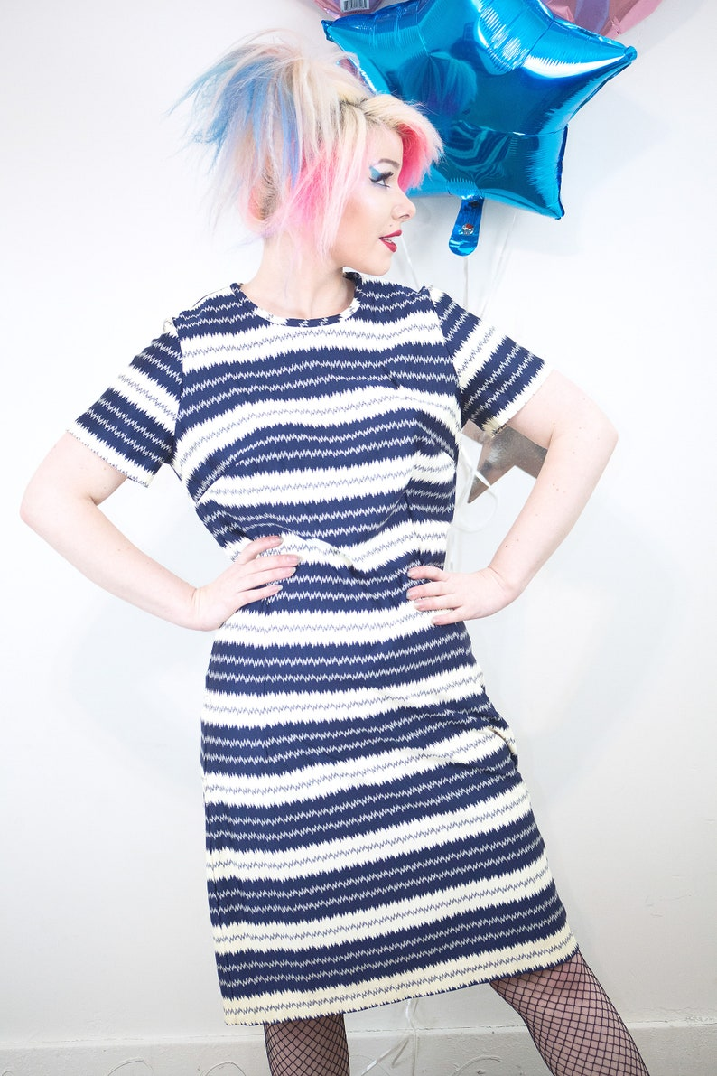 Vintage 1960s 70s Mod Electric Blue and White Striped A-Line image 0