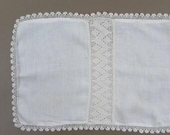 "Vintage Baby or Child Pllowcase - Muslin & Crochet - 18"" x 12"""