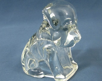 """Vintage 3"""" glass candy container Mopey dog by Federal Glass"""