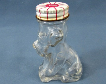 Vintage Glass Dog Candy Container with Lid - M L Armstrong - House of Lowell