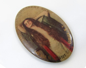 "Antique Millinery Shop Celluloid Promotional Oval Mirror - The Paris Millinery Shop, Elmira, NY  - 2-3/4"" x 1-3/4"""