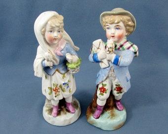 Antique German Conta Boehme Fairing Figurines 1441 c1860 - Ice Cream Cones & purple shoes