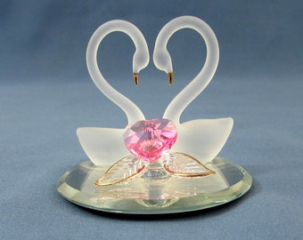 """Glass Barons Swans Together Forever with Swarovski Pink Crystal Heart - 2"""" diameter"""