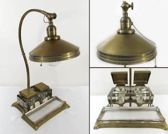 REAL VIENNA BRONZE Lamp Desk Set - Arts & Crafts ca 1910-20 Bronze Brass Crystal