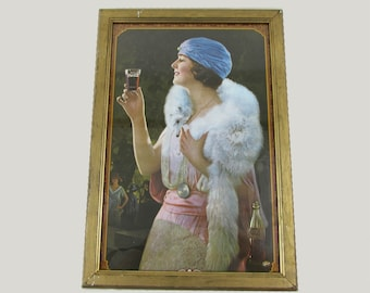 """Vintage Framed Coca Cola Advertisement Lady in Fox Stole - 17.5"""" x 12"""" - 1970s print"""