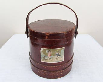 Vintage Pennsylvania Covered Wood Firkin - Dark Red paint - 1920s-30s