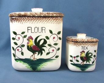 Vintage Napco Rooster Flour & Tea Canisters - 1950s