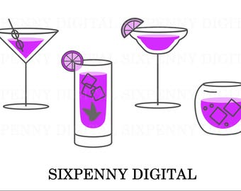 Purple cocktail drinks party invitation clipart Digital Download martini, mojito, margarita, gin and tonic, commercial use, simple, minimal