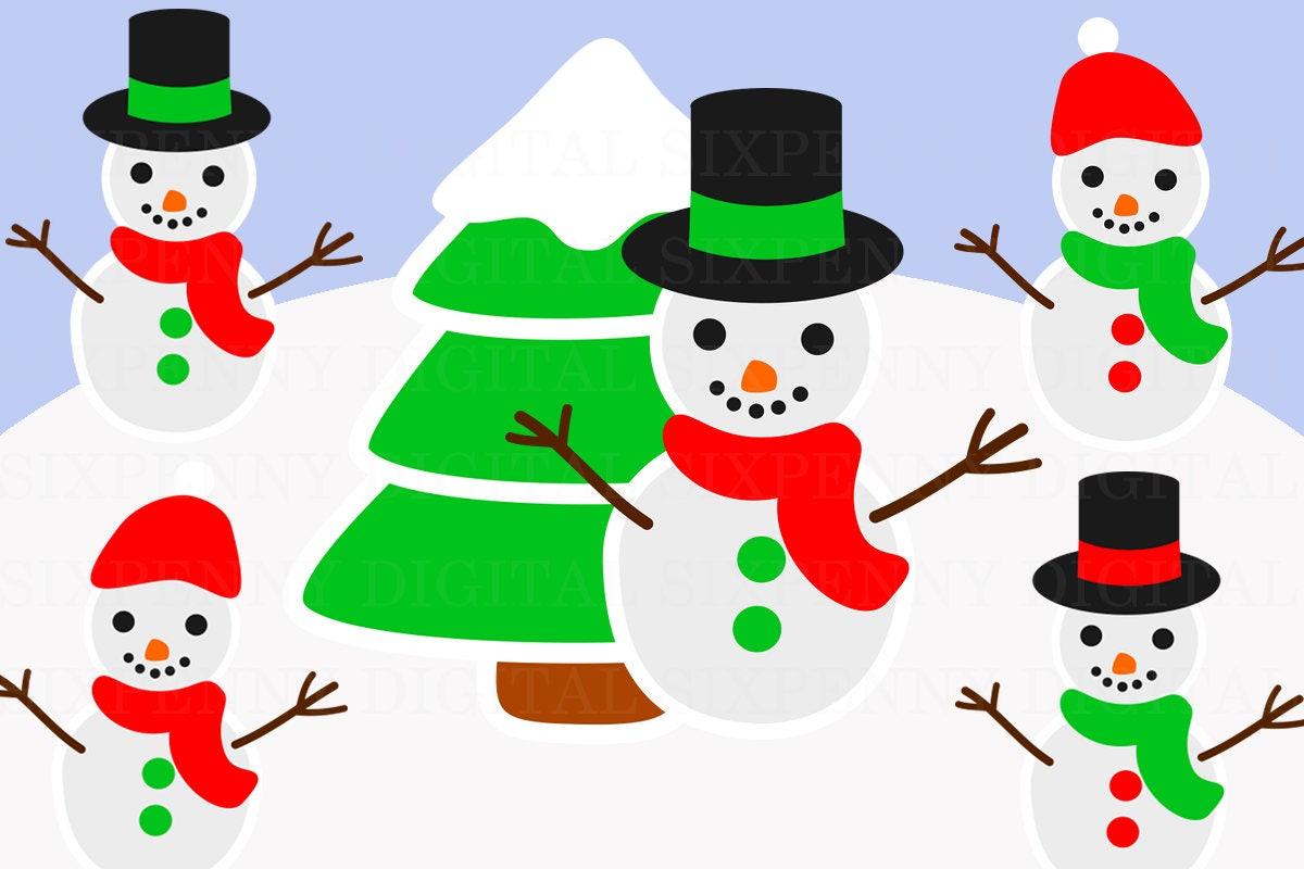 Schneemann-Clip-Art Weihnachten Cliparts Weihnachtsbaum | Etsy