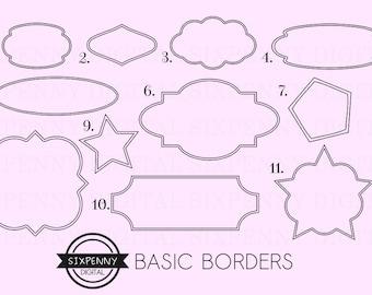 Border Clipart, Printable Label Frames, Label Clipart, Label Borders, Black digital labels, black border labels, border tags clipart