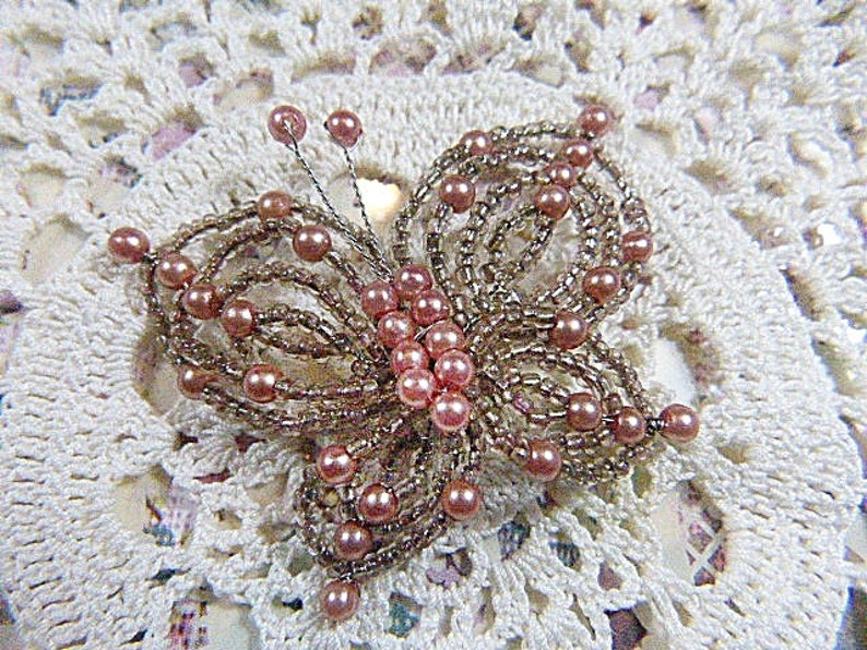 Vintage HAND BEADED Butterfly Brooch With Pearls Pearl and Crystal Beaded Butterfly Brooch Hand Beaded Pearl Brooch-Beaded Brooch BUT-6