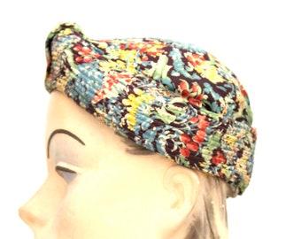Vintage 1930s Womens Hat Turban Rayon Dress Print Small Hat 20 1 2