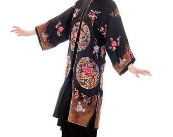 0a4aeb952827 Antique Vintage Chinese Coat Womens Black Silk Embroidered Coat 1920s 42