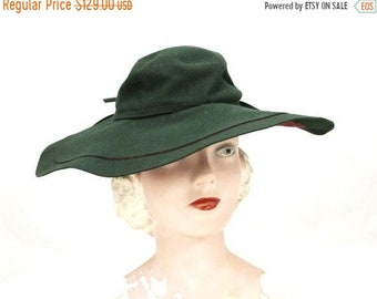 On Sale Vintage Picture Hat Green Maroon Felt 1930s Gabys Waymen Of  California NWT 48868b0abbdf