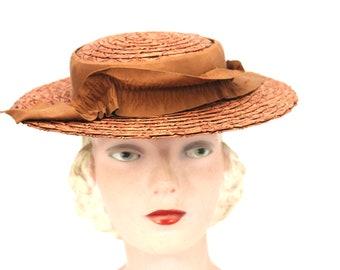 13acda885f4c2 Vintage Straw Hat Cinnamon Medium Brim 1940s Womens WW2 Guernsey Pie