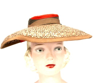 1901cdf7277 Vintage Wide Brimmed Straw Hat 1940s Brown New York Creation WW2 Guernsey  Pie