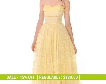 80688614b2 Vtg 1950s Strapless Yellow Tulle Prom Party Evening Gown Dress SIZE S  32-22-Free
