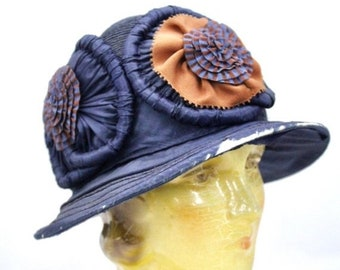 6b46bc78f6a On Sale Now Vintage 1920s Hat Ladies Cloche Flapper Navy Blue Straw  Embellished 23
