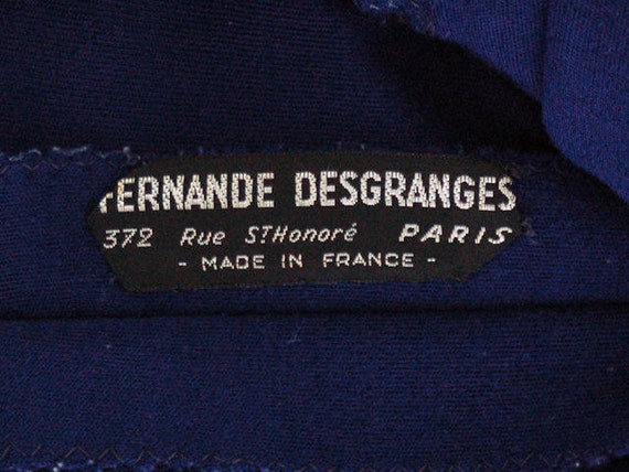 Leather Suit Vintage Trim Navy w 40 1940s Desgranges Fernande Rare White Wool Free 30 France wRzqxC