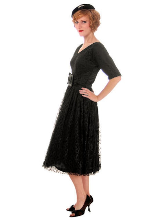 Dress Vintage Black Skirt 1950s Full with Dress Lace Cocktail Skirt 1950s Party 50s Dress Gown Chantilly Circle Epwqx4xIH