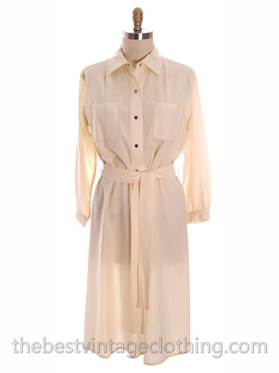 Vintage Vuokko 1970s Dress Ivory Wool Voile Solid