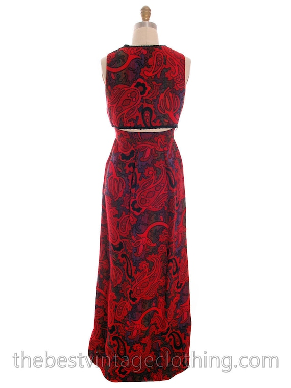 Wool M Fabric Vintage amp; Skirt The Vest Fabulous Red Pc Paisley 1970s 2 Villager wxxqSgAIZ