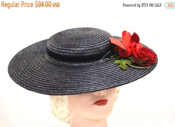 On Sale Vintage Wide Brim Dark Navy Blue Straw Hat 1940s  5c28beeed650