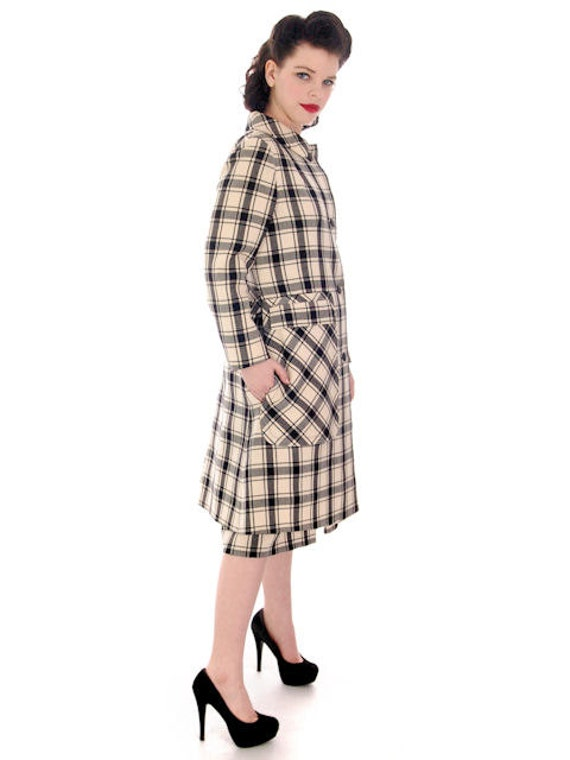 Skirt Sale White and Plaid Black Suit Connolly Pockets Vintage Dublin Jacket Sybil Checked amp; with Huge 1960s by qXwzFx8rX