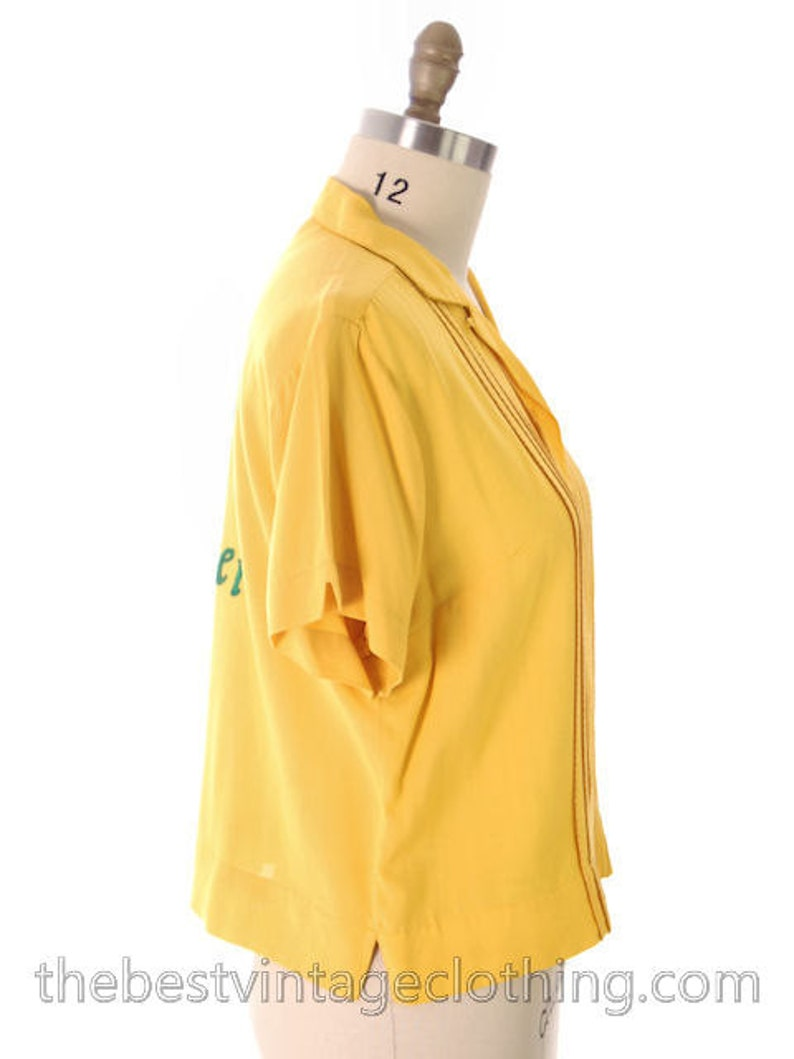 Vintage Olympia Beer  Rayon Ladies Bowling Shirt Evelyn 1950s Large