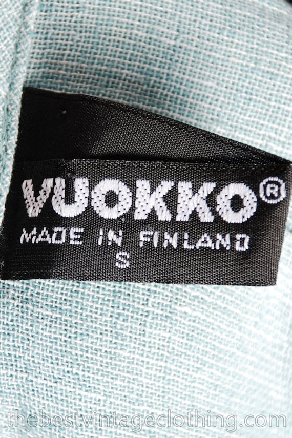 Sale Today Vintage Vuokko Short Jacket Aqua Linen… - image 5