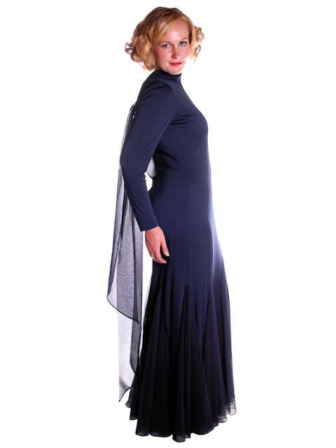 Vintage Scarf Styles -1920s to 1960s Vintage Designer Dress Richilene Blue Silk Wiggle Fishtail Evening Gown Sz 8-12 $0.00 AT vintagedancer.com