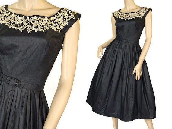 Vintage Party  Dress Black Polished Cotton  White