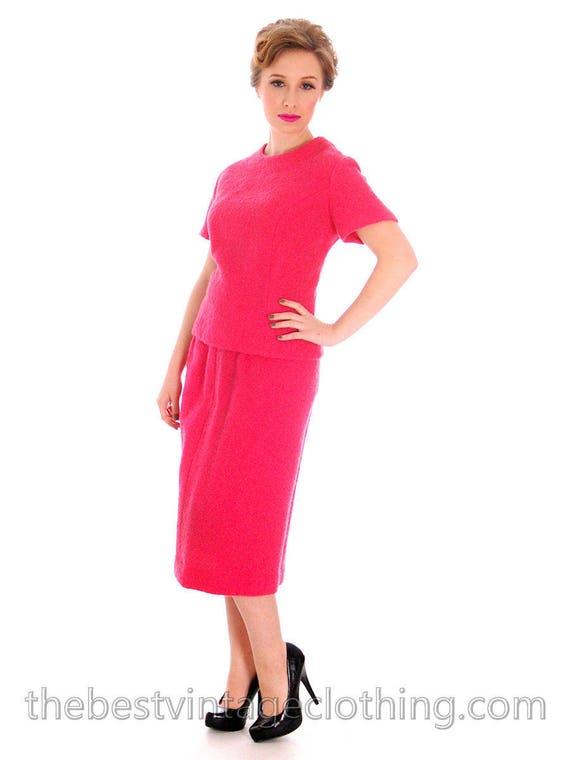 Vintage 1950s Womens Suit Pink 2 Pc Dress Suit Hot