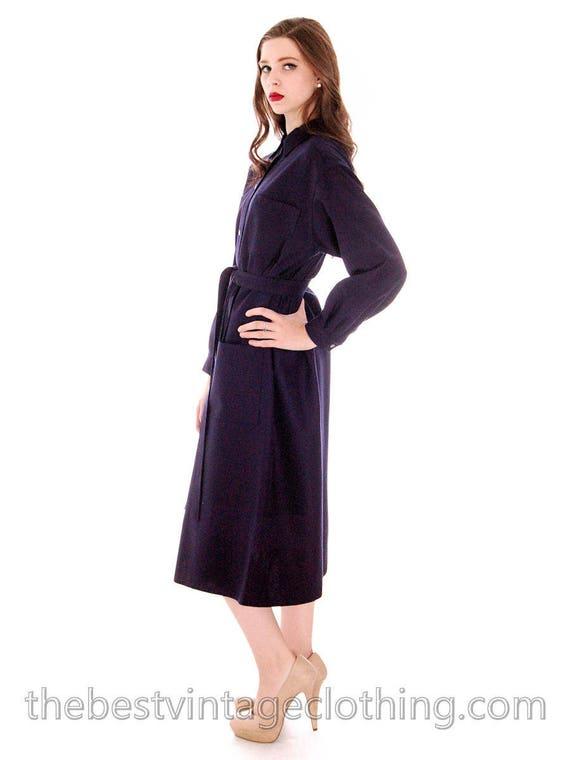 Vintage 1970s Vuokko Coat Dress Navy Fine Wool Mod