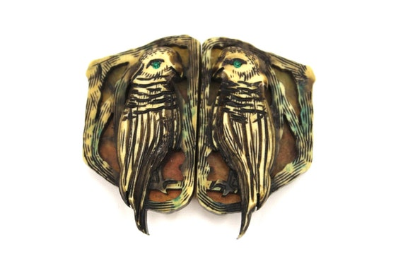 Amazing Art Deco Hawk Belt Buckle Celluloid 1920s