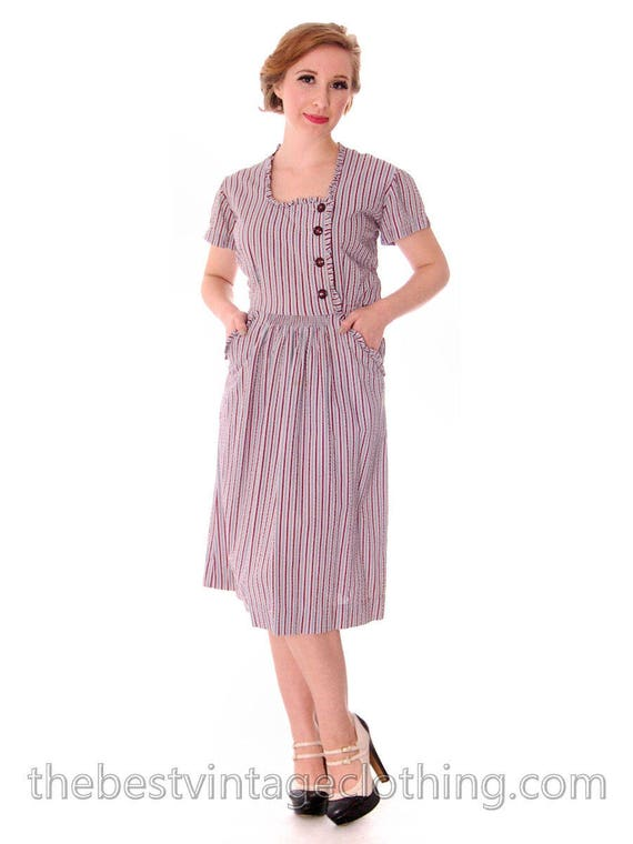 Early 1940s VTG House Dress Blue Red Striped Seers