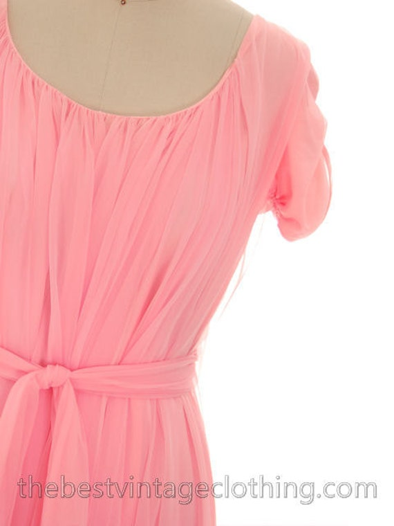 Sleeve Pink Nightgown Coral Ann Lucie Chiffon Vintage Short Nylon M Lounger FzqZw