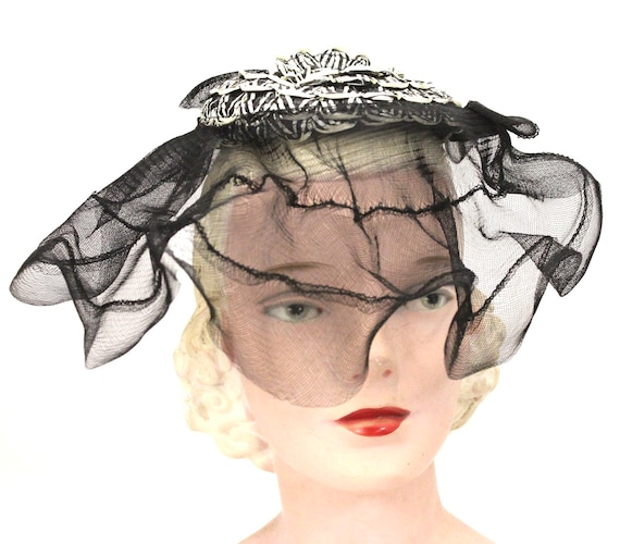Vintage Calot Hat Horsehair Half Brim 1940s O/S Gu