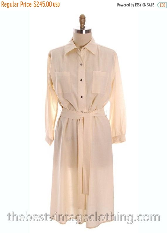 Sale Vintage Vuokko 1970s Dress Ivory Wool Voile S