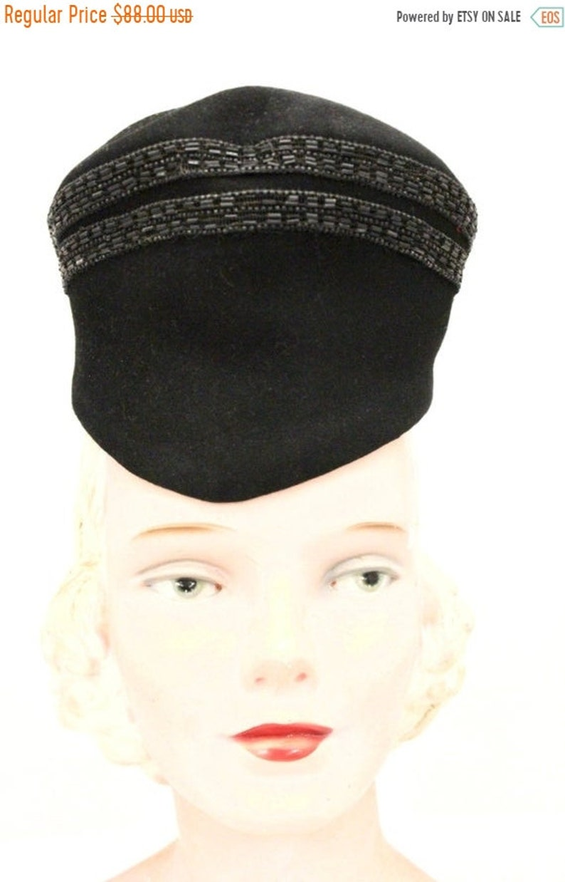 Limited Time 25% Off Vintage Womens Hat Military Style 1930s image 0